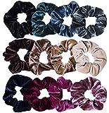 12 Stück Haargummis Samt Scrunchies Elastisches, Bunte Haarbänder für Mädchen,12 Farben MEHRWEG