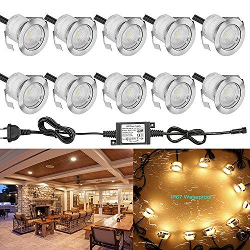 10 Stück LED Einbaustrahler led Bodeneinbauleuchte IP67 wasserdicht 0.6W Ø30mm led Einbauleuchte Terrasse Küche Garten Led Lampe Warmweiß