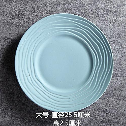chirr Keramik Strohhut Teller Frühstück westlichen Teller Runde Suppenteller Obstteller 10 Zoll flache Platte Puderblau ()