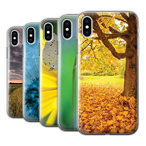 Stuff4 Gel TPU Hülle / Case für Apple iPhone X/10 / Pinke Blume Muster / Englische Gärten Kollektion Pack 10pcs