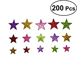 Vosarea 200PCS Star Shape Wall Sticker Glitter Wall Stickers DIY Handmade Wall Decoration for Wall Ceiling Wedding Birthday Party (Assorted Color)