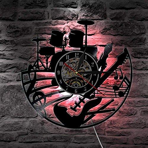(Kreative Gitarren-Rekord Vinyl Wanduhren-Handgemachtes Einzigartiges Neuheit-Entwurfs-Kunst-Plakat mit veränderbarem LED Hintergrund-Licht - Musik-Instrument-Element-Thema - Weinlese belichtete an der Wand befestigtes- Stilles Quarz-Präzisions-Bewegung 30CM rund)