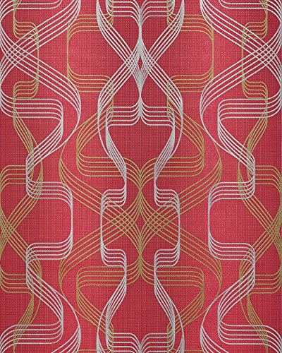 Carta da parati grafica EDEM 507-24 Carta da parati in vinile espanso strutturata con pattern astratto ed accenti metallici rosso rosso-rubino oro-perlato argento 5,33