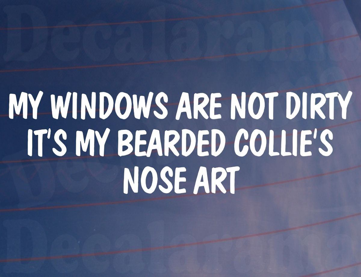 MY WINDOWS ARE NOT DIRTY IT'S MY BEARDED COLLIE'S NOSE ART Funny Car/Van Sticker