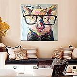 TTKX@ Handgemalte Tiere Ölgemälde Leinwand Kunst Gemälde Wand No Frame Dekorative Bilder, 90X90Cm, Lila