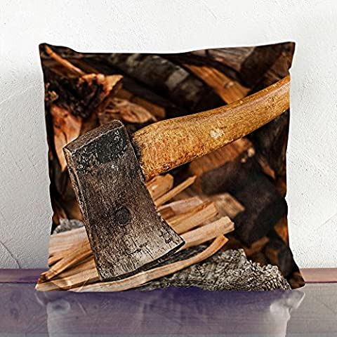 Double-Sided Faux Suede Cushion 17 x 17 Inch (45 x 45 cm) Axe and Wood Log Square Throw Pillow Cover and Cushion Pad - FREE DELIVERY