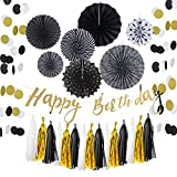 Easy Joy Decoration Anniversaire Noir et Or 30 40 50 60 Ans Femme Homme Decoration, Happy Birthday Doré - 13pcs