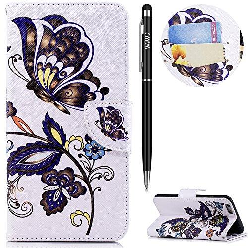 WIWJ iPhone 6 Plus Hülle,iPhone 6S Plus Leather Handyhülle, Wallet Case[Messer Schnalle Gemalt Stand Handy Case] Schutzhüllen für iPhone 6 Plus/iPhone 6S Plus-Weißer Schmetterling