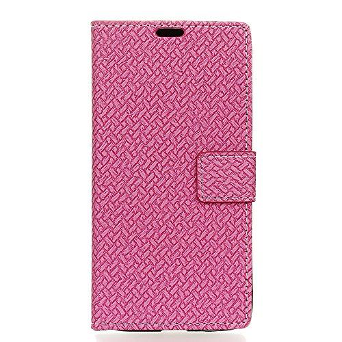 Xiaomi Mi 6 Plus Hülle, CaseFirst Hülle in Gewebte Muster Flip Cover Brieftasche Wallet Case mit Foto Frame und Card Slots PU Leder Schutzhülle für Xiaomi Mi 6 Plus (Pink) Flip Plus Audio