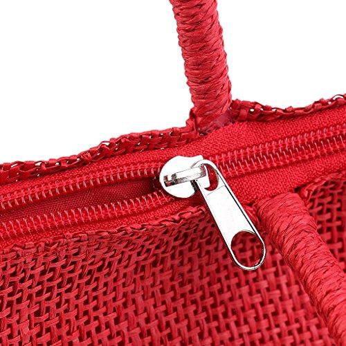 MagiDeal Donna Borsa Tote della Tessuta Paglia Sacchetto Spiaggia di Estate - Rosso Rosso
