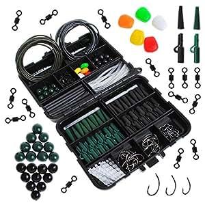 Carp Fishing Tackle Box Dr.fish 219 pezzi con clip di sicurezza girevole Ganci terminali tubo Joblot accessori Green Black