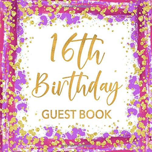 Book: Pink Purple & Gold Confetti Sign In Guestbook for Girls - Sweet 16 Keepsake with Space for Visitors to Write Message, Lines for Email, Name and Address  - Square Size ()