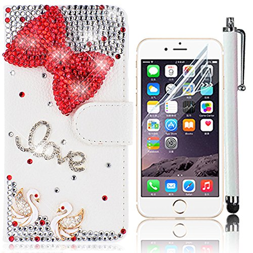 iPhone 7 Handytasche,iPhone 7 Hülle,Sunroyal Elegant Luxus Noble Weiß Rose Rot Schmetterling Bling Diamant Glitzer Rhinestone Muster Entwurf PU Leder Schutz Handyhülle Strass Klapp Flip Bookstyle Akku Pattern 24
