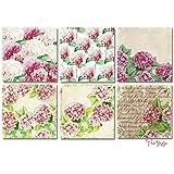Paper Moon - Papel Scrapbooking Calidad x 6 hojas (1 x 6 diseños) de 20 cm x 20 cm - Hortensias