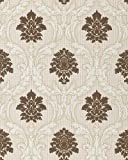 Barock Tapete EDEM 052-23 Tapete Damask Relief-Ornamente Flockoptik Schoko-braun weiß hell-beige