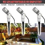 VBLED 3er Set 6W Garten-Strahler/Außenleuchten - 12V Komplett-Set inkl. Netzteil und Verbindungsstecker, IP65 Schutzklasse - extra helle Outdoor-Spots (6W Warmweiss)