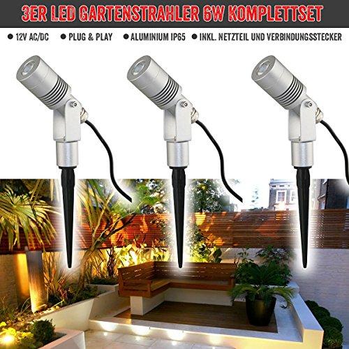 VBLED® 3er Set 6W Garten-Strahler / Außenleuchten - 12V Komplett-Set inkl. Netzteil und Verbindungsstecker, IP65 Schutzklasse - extra helle Outdoor-Spots (6W Warmweiss) (12v Outdoor-beleuchtung-led)