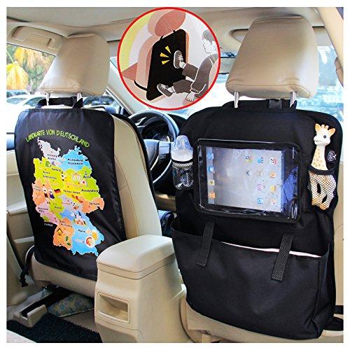 """Preisvergleich Produktbild BAYTTER® Rücksitzschoner Rückenlehnenschutz + Rücksitz Organizer mit großer Kapazität, mit durchsichtigem iPad Tablet Fach, für Kinder Früherziehung wasserdicht, mit Mustern von """"Deutschlandkarte"""", 60 x 45cm, passend für jedes Auto"""