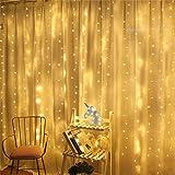 Luz de Cortina JINPX Luz Cadena Luces de Navidad con 300 LED 8 Modos 3*3M Blanca Cálida Perfecto para Fiestas,Bodas,Festivale
