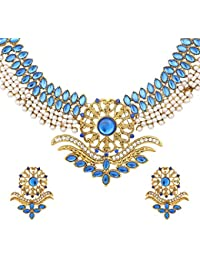 DANCING GIRL Wedding Bridal Jewellery Blue Neela Metal Alloy Necklace Sets Jewellery Sets For Women