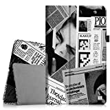 Fintie Microsoft Surface Pro 3 Hülle Case - Hochwertige Kunstleder Slim Fit Stand Tasche Schutzhülle Etui Cover mit Stylus-Halterung für Microsoft Surface Pro3 (12 Zoll) Tablet, Zeitung
