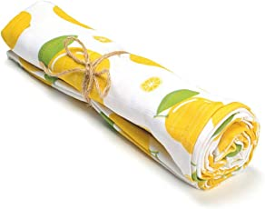 Softsens Baby Certified Organic Muslin Swaddle (0-24 Months) (44 X 44 inches) Zesty Lemon Print
