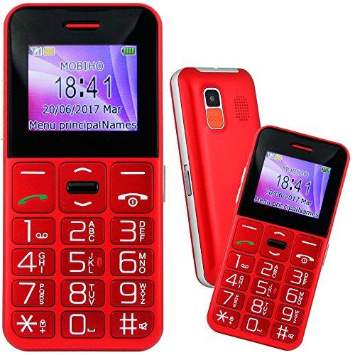 Mobiho-Essentiel le CLASSIC SYMPA 2 ROUGE, Seniors - Grosses touches - Un téléphone simple et complet à la fois, une belle couleur rouge. Son très fort jusqu'à 90DB mesuré à 30 cm - Blocage clavier facile - Blocage menus possible - Appareil photo et vidéo - Bluetooth - Ecran couleur avec chiffres écrit gros sur l'écran, très bon contraste - 8 raccourcis d'appel direct - Bouton SOS - Sms (pas MMS) - Lampe torche - Débloqué tout opérateur, Toutes cartes SIM