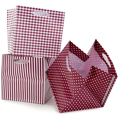 Pflanztasche faltbar Muster Sortierung Rot 12 Stück 10,5x10,5cm Übertopf