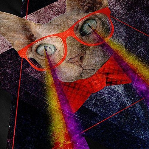 Laser Les yeux Geek Drôle Chat Femme S-2XL Sweat à capuche le dos | Wellcoda Noir