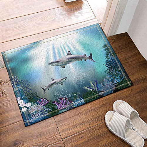 ZZ7379SL Sunbeam Into Ocean Shark Badteppiche 3D Digitaldruck 40x60CM Schlafzimmer Küche Kinder Badezimmer Matten Zubehör (Wasser Sunbeam)