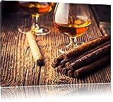 Whisky und Zigarre Format: 100x70 cm auf Leinwand, XXL riesige Bilder fertig gerahmt mit Keilrahmen, Kunstdruck auf Wandbild mit Rahmen, günstiger als Gemälde oder Ölbild, kein Poster oder Plakat