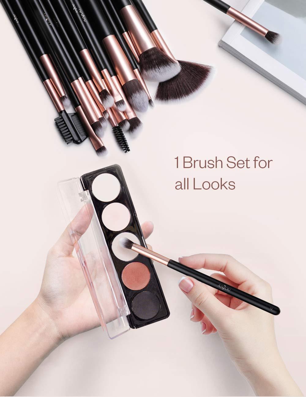 Anjou Brochas Maquillaje Comésticos 20 Piezas, Set Brochas Maquillaje para Ojos, cejas, base de maquillaje, polvos, crema