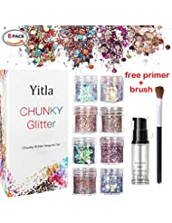 8 color face Glitter Cosmetic Glitter, for Body, Cheeks and Hair, Festival and Party Beauty Makeup - Includes Long Lasting Fix Gel and brush