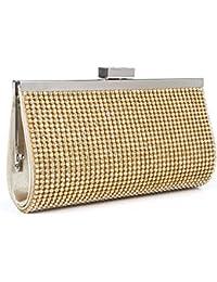 BAIGIO Bolso de Mano para Mujer Bolso para Fiesta Boda Salidas Bar Mini Size Estilo Brillante con Diamantes y Cadenas Bolso Color Plateado/Dorado