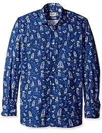 Gitman Blue Men's Beach Print Spread Collar Sport Shirt