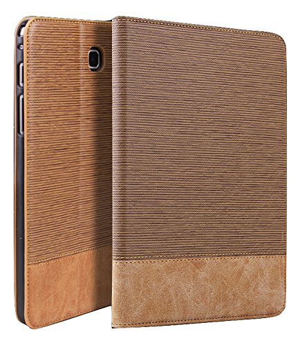 Qinda Luxury Leather Smart Flip Case cover for Samsung Galaxy Tab A 8.0 8″ T350, T355, T351 (Sleep/Wake) (Light Brown)