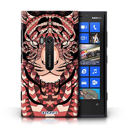 Coque en plastique pour Nokia Lumia 920 Collection Motif Animaux Aztec - Loup-Pourpre Tigre-Rouge