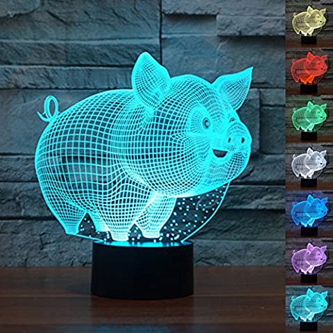 Decorative Lights 3D Illusion Night Lights Pig Effect 7 Colors Switch Automatically by Smart Touch Button Ideal Gift and Perfect Indoor Lamp