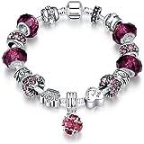 LDUDU® Braccialetto con charm da donna, in argento e argento, con ciondoli in vetro di Murano, regalo per donna e ragazza, co
