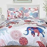Nimsay Home - Juego de Funda nórdica y Funda de Almohada (100% algodón), diseño de Elefante, 100% algodón, 135 x 200 cm + 1 x 80 x 80 cm
