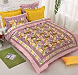 Jaipuri Bedsheets 100% Pure Cotton Rajasthani Bedsheet for Double Bed ( 1 Bed Sheet with 2 Pillow Covers ) by Viskar Fab Tex