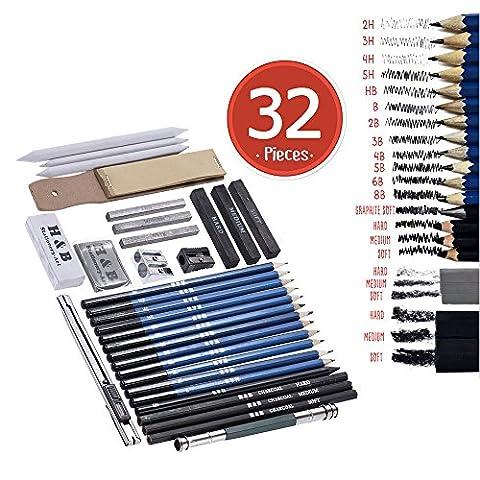 Aibecy 32pcs/set Professional Dessin Sketch crayon kit Y Compris Sketch Crayons graphite et charbon de bois Bâtons de crayons gommes taille-crayons avec sac de transport pour art Fournitures étudiants