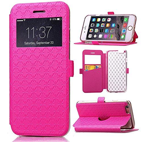 iPhone 6 Plus / 6S Plus Handycover, TOTOOSE für iPhone 6 Plus / 6S Plus Rhombus Grid Pattern Ultra dünn PU Leder Hülle mit View Windows Flip Stand Funktion Weiches TPU Silikon Abdeckung Schützend Scha Pink