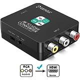 RCA auf HDMI Adapter, PORTHOLIC AV auf HDMI Konverter AV zu HDMI Adapter Unterstützung 1080P mit USB Ladekabel für PC Xbox PS4 PS3 TV STB VHS VCR Kamera DVD Wii (Schwarz)