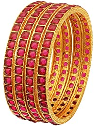 Sasitrends Antique Gold Plated Kemp Bangles For Women And Girls - Set Of 4