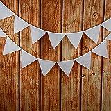 yalulu 3,2m 12banderas Uni Blanco Algodón Plástico Banderolas boda vintage boda Decoración Banner Home Decoración Guirnalda
