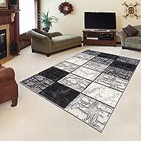 Tapiso Alfombra De Salón Moderna – Color Gris Negro Diseño Cuadrado Retro – Varias Dimensiones S-XXXL 130 x 190 cm