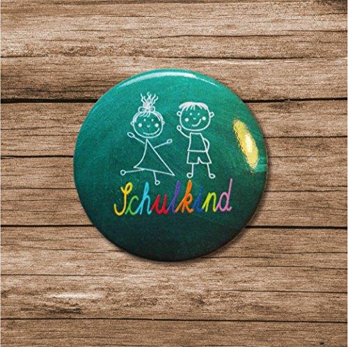 Lasse und Lucie 8 Button Schulanfang zur Einschulung / 8 Große Buttons 38 Millimeter Durchmesser als Geschenk für Das Schulkind und für die Schultüte - 3