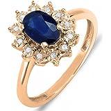 Anillo real para novia de oro de 10quilates con diamante y zafiro azul inspirado en Diana y Kate Middleton