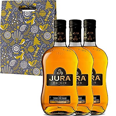 The Isle Of Jura 10 Year Old Origin Single Malt Scotch Whisky 35cl Half Bottle in Xmas Gift Box With Handcrafted Gifts2Drink Tag